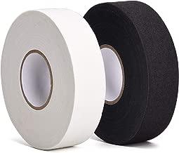 TOBWOLF 2PCS Black/White Hockey Tape, 27 Yard Adhesive Cloth Tape Hokey Stick Blade Handle Shaft Bat Sports Tape Non-Slip Grip Wrap for Ice Hockey, Field Hockey, Roller Hockey, Lacrosse