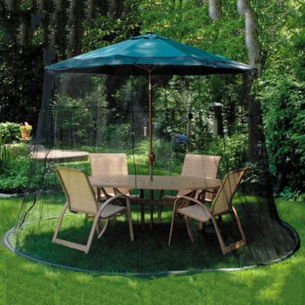 GANG 7.5Foot Umbrella Table Screen Patio Messh Umbrella Mosquito Paraguas para Jardín Exterior, Paraguas Mosquito Patio Pantalla de Mesa Y Red 11'W X 7.5'H Negro Fácil instalación