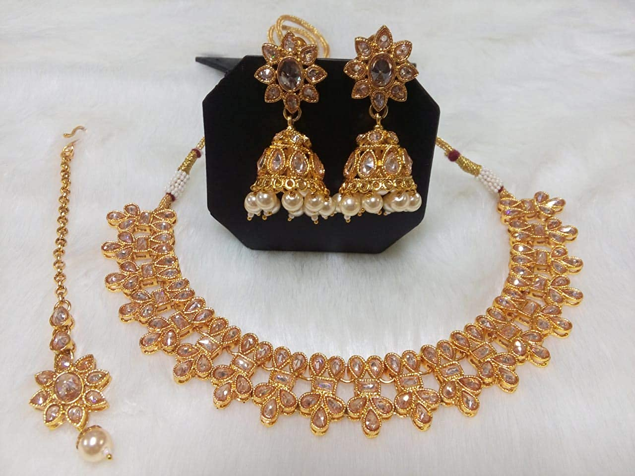 Tezshree (TJ) Indian Bollywood Jewelry Necklace Set Earring Tikka Ethnic Gold Plated