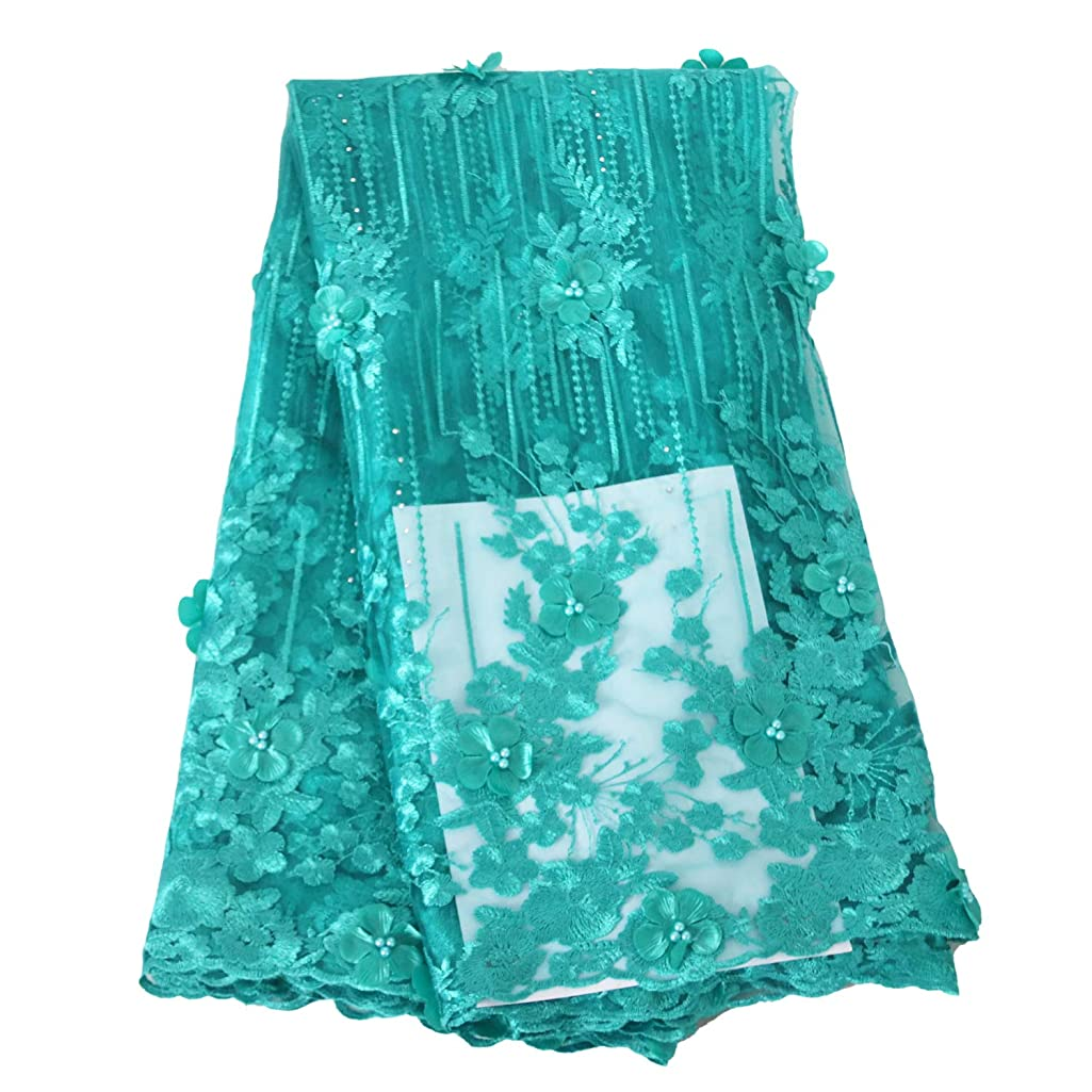Aisunne African Lace Fabrics Classics Nigerian French Lace Fabric 5 Yards with Fashion Rhinestones and Embroidered Beading Flower for Wedding Party Dresses (Green)