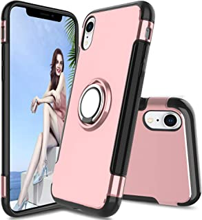iPhone XR Case,Double Defense Shock Resistant Scratch Resistant Soft Case with 360 Degree Swivel Ring for Apple iPhone XR ...