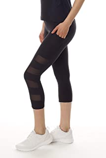 X by Gottex Women's Leggings | Activewear, Easy Access Pocket | Mesh Capri & High Waist | Black