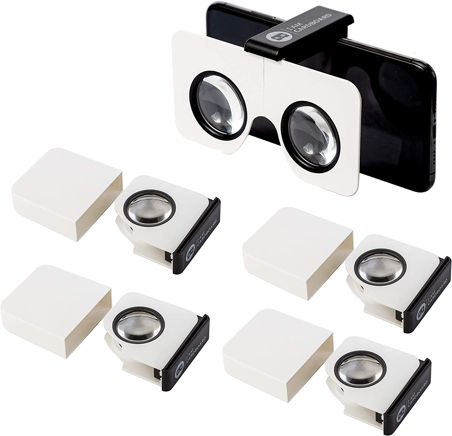 Five-Pack Pocket 360 Mini VR Viewer | The Best Google Cardboard Virtual Reality Glasses | Google Cardboard v2 Inspired | Small and Unique Travel Gift Pack of 5