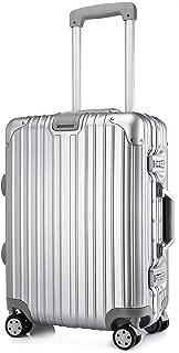 Kroeus Suitcase Carry Case Luggage TSA Lock Aluminum Frame 20 Inch Silver