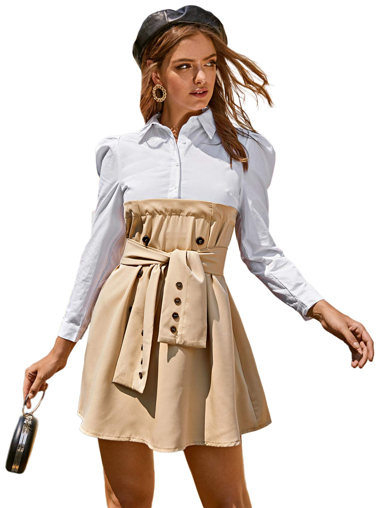 Available at Amazon: Verdusa Women's Puff Sleeve Double Breasted High Waist Belted Shift Dress