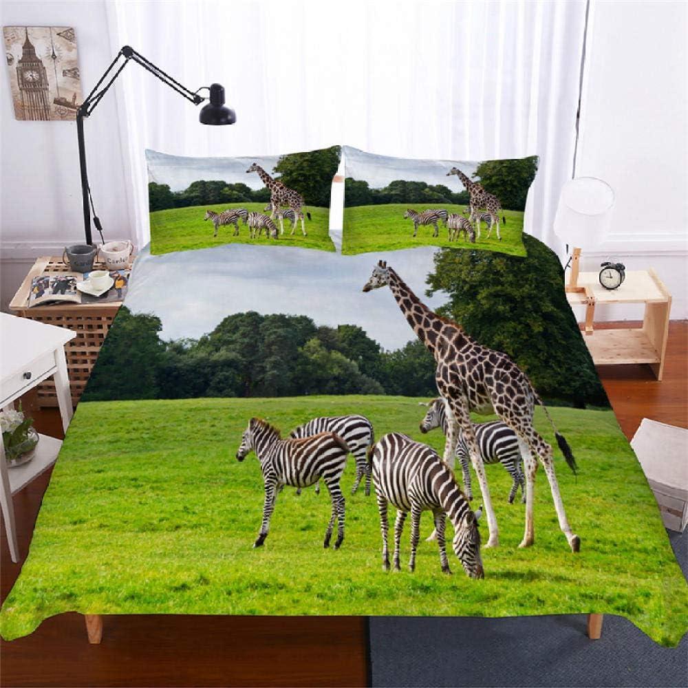 King Free Shipping Cheap Bargain Gift Duvet Cover Giraffe Zebra service with L Closure Zipper