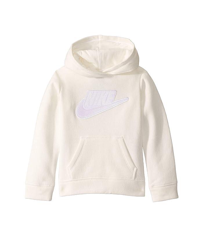 Nike Kids  Sueded Fleece Iridescent Logo Pullover Hoodie (Toddler/Little Kids) (Sail) Girls Sweatshirt