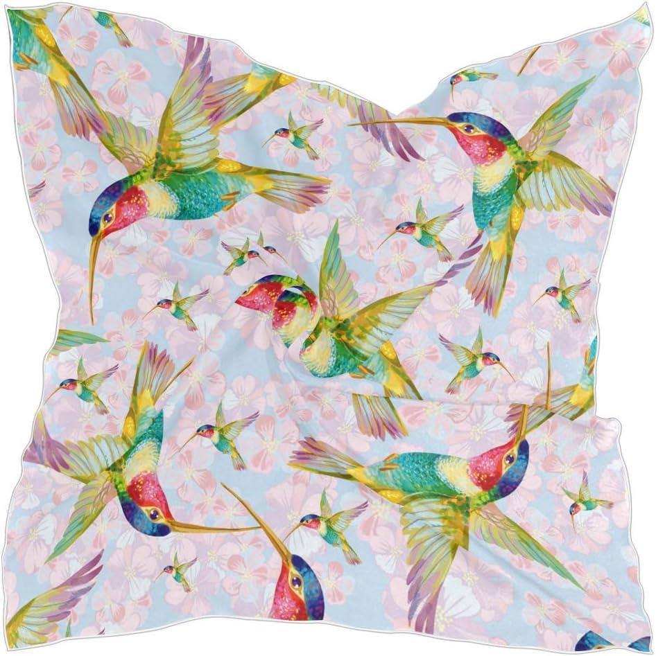 TropicalLife CFAUIRY Square Scarf Floral Bird Hummingbird Fashion Satin Neck Scarf 23.6