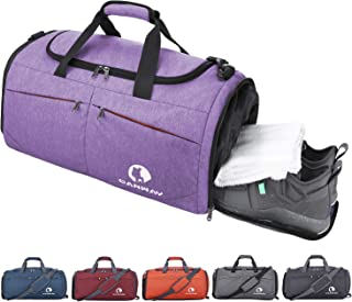 Canway Sports Gym Bag, Travel Duffel bag with Wet Pocket & Shoes Compartmentfor men women, 45L, Lightweight (purple)