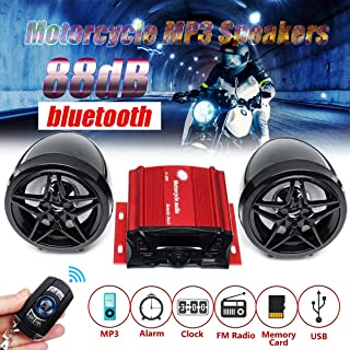 Anti-theft 88dB Motorcycle Audio MP3 Player Wireless Remote Control Alarm Clock FM USB bluetooth Speaker Music Player (Black)