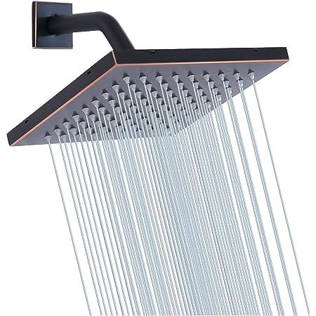 GGStudy Round 12 Inch Stainless Steel Shower Head Rain Style Shower Head Oil Rubbed Bronze Black