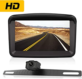 Backup Camera with 5 Monitor License Plate Mounted Reverse HD Camera Night Vision Waterproof + Rear View High Definition LCD Backing Monitor Safety Reversing for Car/Truck/Pickup/Van/Camping Car/RV