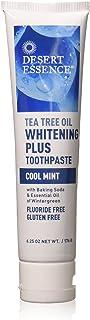 Desert Essence Natural Tea Tree Oil Whitening Plus Toothpaste - Cool Mint - 6.25 Oz - Antiseptic Tea Tree Oil - Zinc Citra...