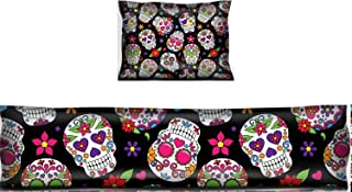Luxlady Mouse Wrist Rest and Keyboard Pad Set, 2pc Wrist Support Image ID: 36626870 Day of The Dead Sugar Skull Seamless Vector Background