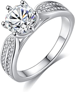 GemShadow Donne 925Sterling Silver CZ Anello di Fidanzamento