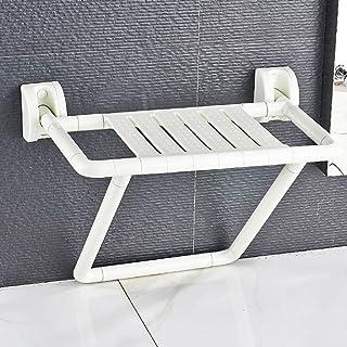 WSSF- シャワーチェア 安全性ノンスリップ折りたたみシャワー椅子バスルームトイレの壁は、高齢者のための水着のバリアバリアフリー妊婦変更靴、白 - 48.5 * 54 * 42センチメートル