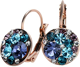 18K Rose Gold or Silver Tone Plated Crystals from Swarovski Multicolor Leverback Dangle Earrings