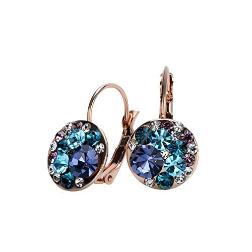 8229095a4 UPSERA Multicolor Round Drop Leverback Earrings for Women Made with Swarovski  Crystals Rose Gold or Silver