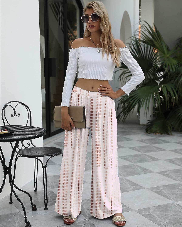 SENFURE Womens Comfy Casual Pants Tie Dye//Leopard Pajama Palazzo Lounge Pants High Waist Wide Leg PJ