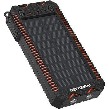 POWERADD Batterie Externe Solaire 12000mAh, Chargeur Solaire Imperméable avec Deux Lampes LED et Briquet Intégré pour en Plein Air, Double Sortie USB pour iPhone, Smartphone et Tablette, etc.