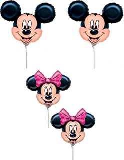 Broward Balloons Disney Mickey & Minnie Mouse Head Mini Shape 14 Inch Balloons (Qty 4)