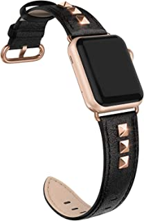 SWEES Genuine Leather Band Compatible for Apple Watch 38mm 40mm, Dressy Designer Bling Rivets Studs Bands Strap Compatible for iWatch Series 5,4,3,2,1, Sports & Edition Women, Black