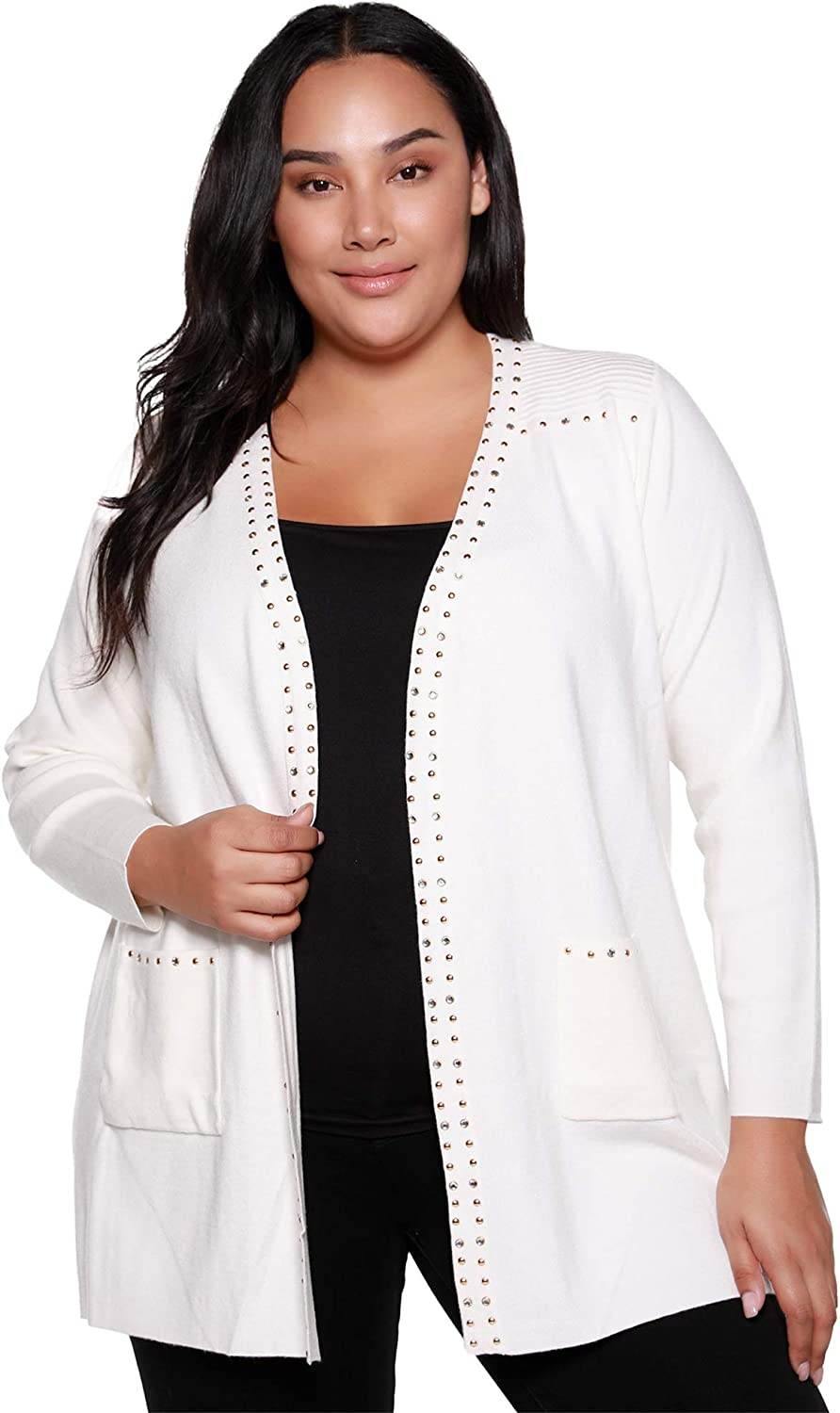 Cardigan Plus Size Long Sleeve Open Front Light Cardigan with Trim