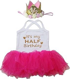 Kirei Sui Baby Half Birthday Tulle Tutu Bodysuit & 1/2 Gold Crown Headband