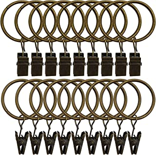 Topspeeder 18 Pack Rings Curtain Clips Strong Metal Decorative Drapery Window Curtain Ring with Clip Rustproof Vintage 1.26 Inch Interior Diameter Bronze Color