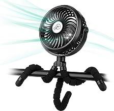 Winique USB Ventilator Leise Handventilator Mini Fan Mit 3 Geschwindigkeiten/ 720°Verstellbar/ LED-Lichts, über 10h Akkulaufzeit für Kinderwagen, Zuhause & Büro