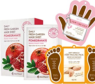 The Elixir Korean Beauty Cosmetic Skin Planet Fresh Garden Tencel Pomegranate Face Mask Sheet with Hand, Foot Peeling Mask Pack, Total 13 Packs (10-Face, 2-Hand,1-Foot Peeling)