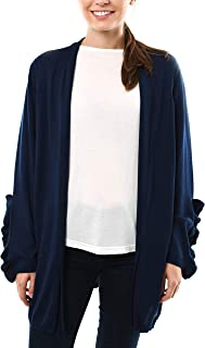 Long Cardigan Sweater with Ruffle Sleeve Detail