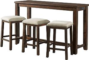 Picket House Furnishings Multipurpose Bar Table Set (Walnut Finish)