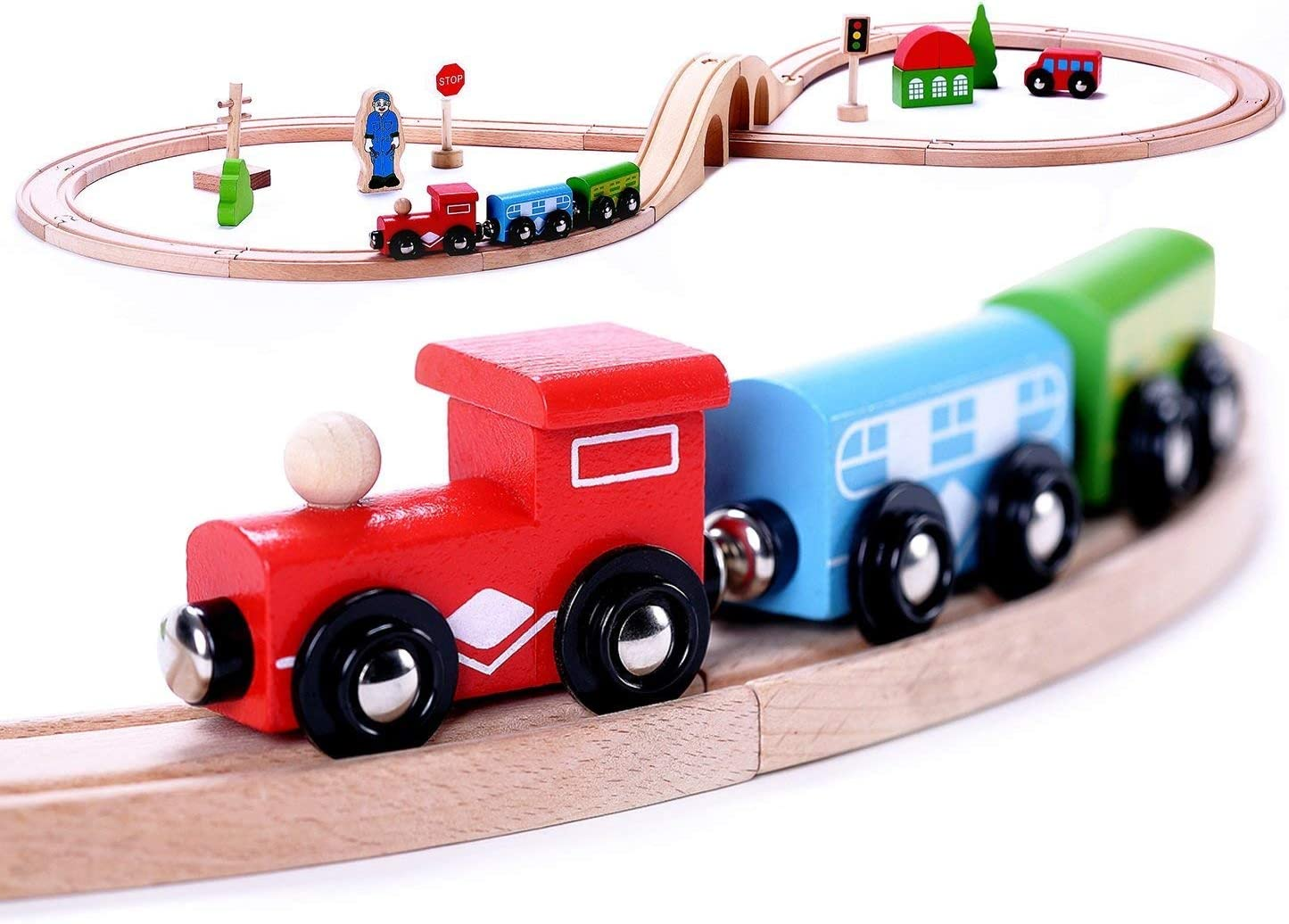 Premium Wooden Train Set Toy Double-Sided All items free shipping M Max 69% OFF 30pcs Tracks