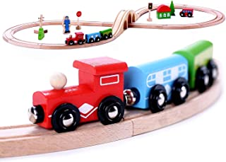 Cubbie Lee Premium Wooden 30 piece Train Set Toy Double-Sided Train Tracks, Magnetic Trains Cars & Accessories for 3 Year Olds and Up - Compatible with Thomas Tank Engine and Other Major Brands