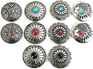 コンチョ ボタン 10個セット シルバー ターコイズ ネジ式 30mm レザークラフト 財布 手芸 バッグ飾り用ボタン ハンドメイド