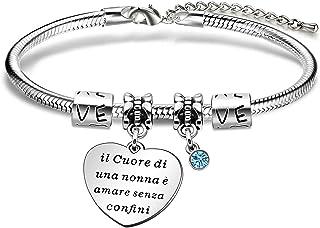 """Angelra Regali di Compleanno Nonna Bracciale Braccialetto Donna""""il Cuore di una Nonna Amore Senza Confini"""" Cuore Ciondolo ..."""