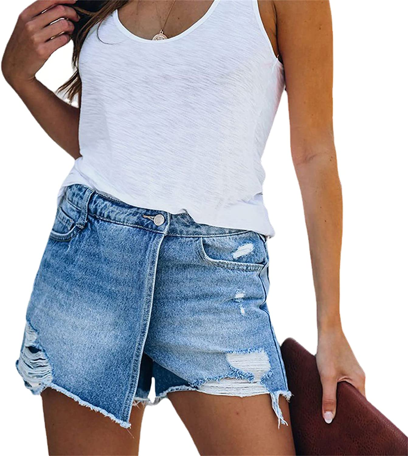Andongnywell Womens Mid Waisted Denim Shorts Distressed Frayed Raw Folded Hem Short Jeans Destroyed Washed Jean Shorts