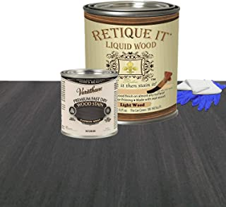 Retique It Liquid Wood - Quart Light Wood with Carbon Gray Stain - Stainable Wood Fiber Paint - Put a fresh coat of wood on it (32oz LW, Carbon Gray)