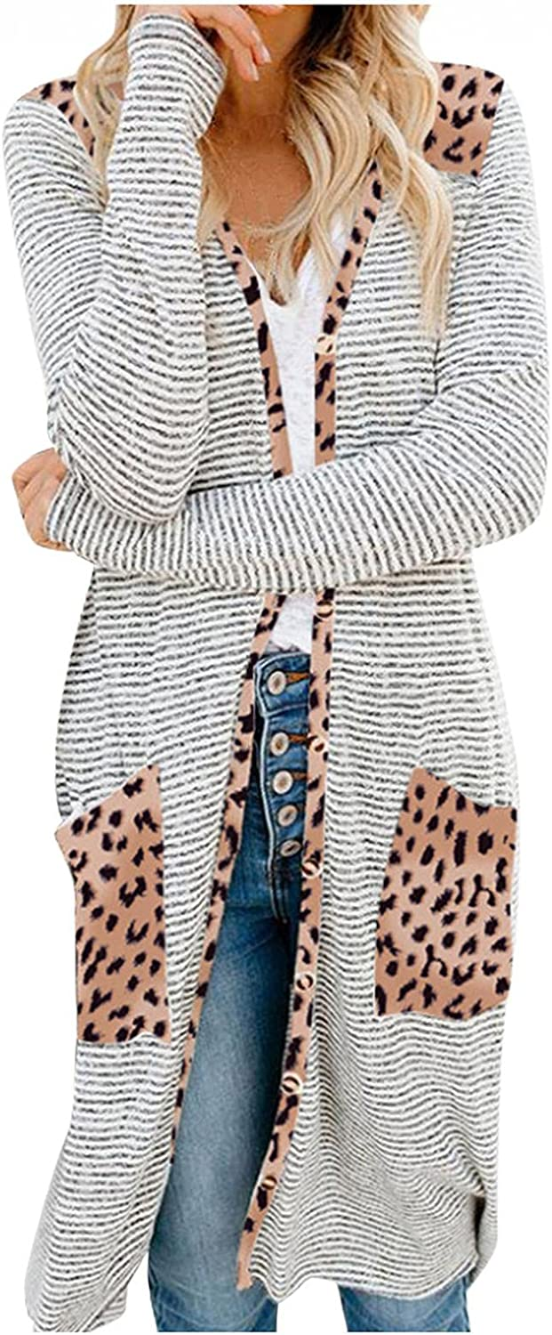 AODONG Cardigan for Women Fashion Split Open Front Long Cardigan Sweaters with Pockets Long Sleeves Knitted Cardigan