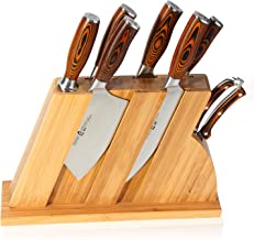 TUO Cutlery Knife Set with Wooden Block, Honing Steel and Shears-Forged HC German Steel X50CrMoV15 with Pakkawood Handle - Fiery Series 8pcs Knives Set TC0714