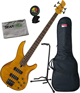 $614 Get Yamaha TRBX604 4-String Matte Amber Flamed Maple Bass Guitar w/Bag, Stand, Clot