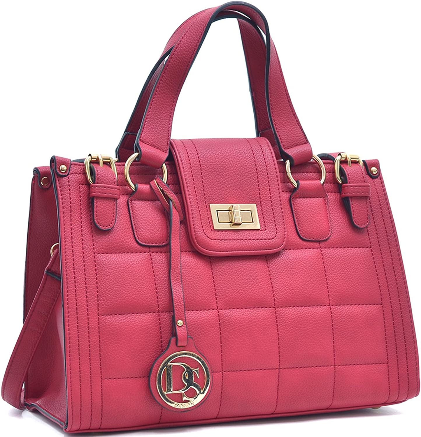 Dasein Quilted Satchel Shoulder Bag with Buckled Details
