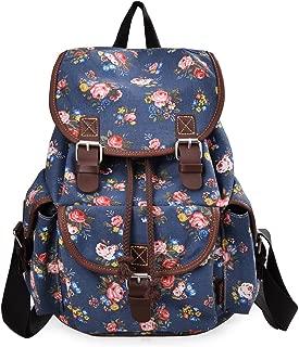 Epokris Blue Flower Backpack for Girls School Backpack Book Bag for Girls Daypack Floral Backpack for teens Girls 163BE
