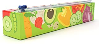 Chicwrap Veggies Refillable Plastic Wrap Dispenser with Slide Cutter and 250' of Professional BPA Free Plastic Wrap