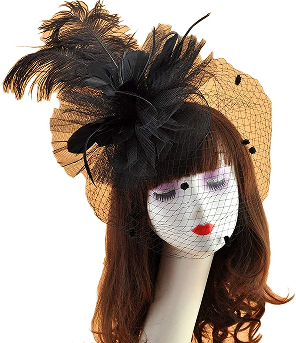 Belyee Feather Fascinator Hats for Women Cocktail Tea Party Veil Hats Hair Clips