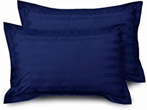 HUESLAND by Ahmedabad Cotton Luxurious Striped 2 Piece Cotton Pillow Case Set - 18 inch x 27 inch, Navy Blue
