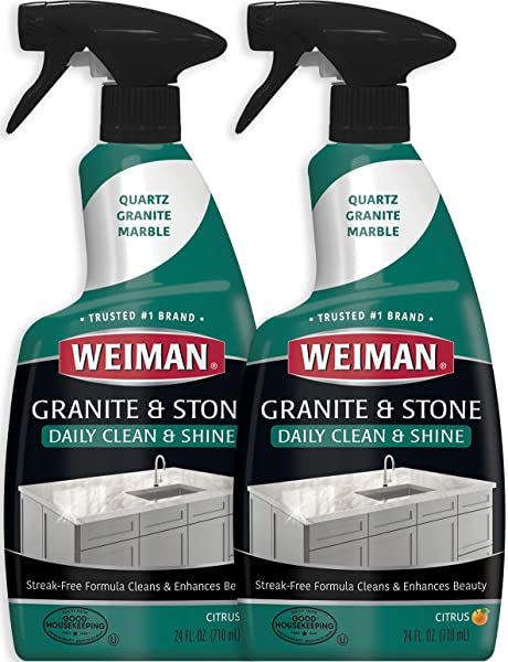 Weiman Granite Cleaner And Polish 24 Ounce 2 Pack Safely Cleans And Shines Granite Marble Soapstone Quartz Quartzite Slate Limestone Corian Laminate Tile Countertop