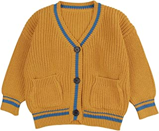 Peecabe Baby Boy Girl Sweater Children Cardigan Button-Down Coat Cotton Outfit Long Sleeve V-Neck Jacket