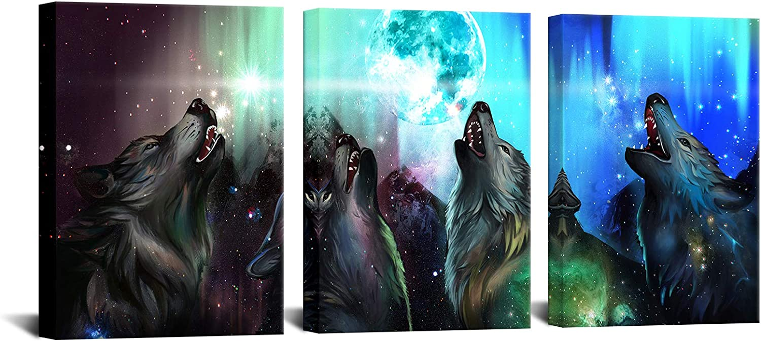 Biuteawal Indefinitely 3 Piece Animal Wall unisex Art Wolf to Moon the North Howling